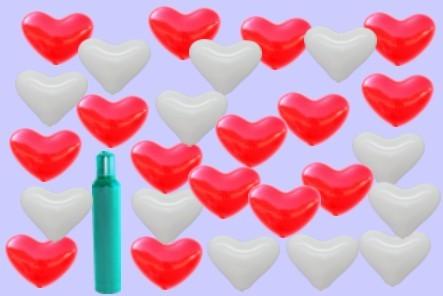 700 rote und weiße Herzluftballons mit Helium, Ballongas zur Hochzeit