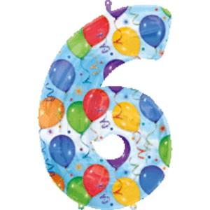 Folienballons Jubiläumszahlen und Geburtstagszahlen: Ballon Zahl 6