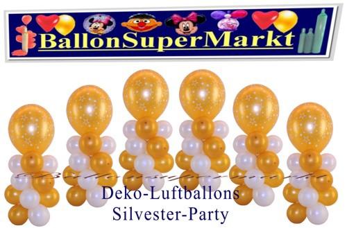 Silvesterdeko-Tischdeko-Luftballons-Creme-Weiss-Gold-Stars