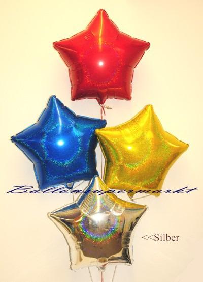 Stern-Folien-Luftballons-in-bunten-Farben-mit-Glanzeffekt-Silber