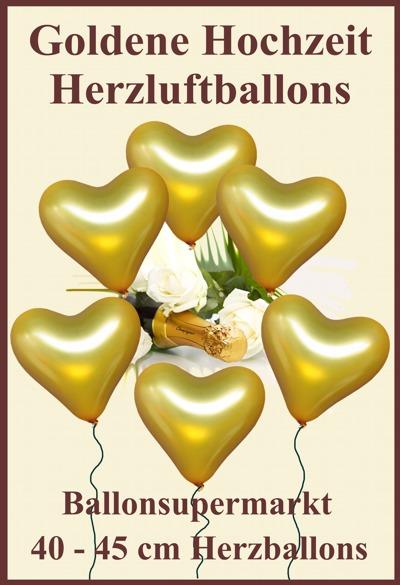 Goldene Herzluftballons zur Goldenen Hochzeit