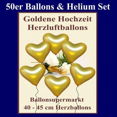 Ballons Helium Set Goldene Hochzeit, 50 golden Herzluftballons mit Heliumflasche und Ballonbändern