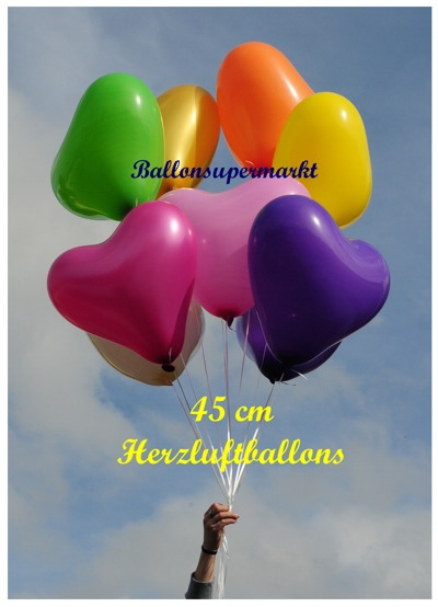 Traube aus bunten großen Herzluftballons, Luftballons Herzen in bunten Farben