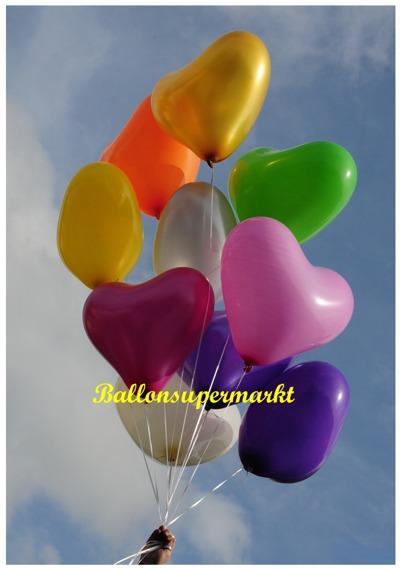 Herzballons, Herz-Luftballons, Ballonherzen in bunten Farben. Große 45 cm Luftballons in Herzform