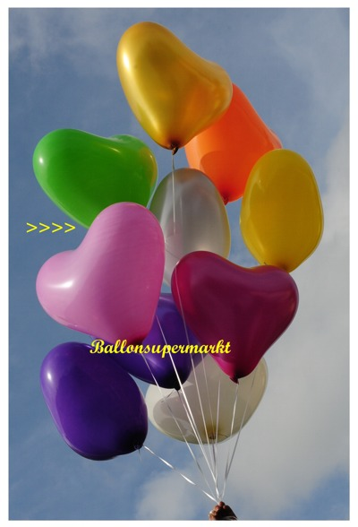 herzluftballon rosa groß, 40-45 cm, mit Helium
