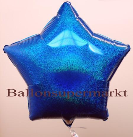 Blauer-Stern-Folienballon-Holografisch