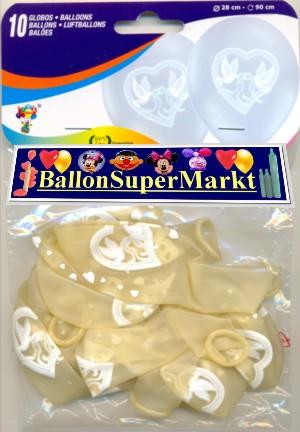 Transparente Luftballons mit Hochzeitstaubern und Eheringen, Hochzeitsballons, Luftballons zur Ballondekoration Hochzeit