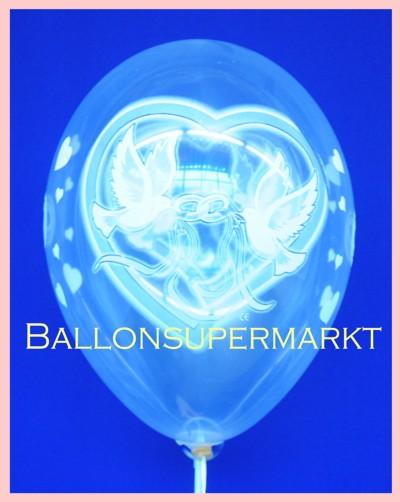 Hochzeitsballons, Luftballons Hochzeit, Ballone aus Latex mit Hochzeitstauben die Hochzeitsringe halten