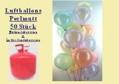 Helium- Einwegbehälter mit 50 Latexballons Perlmutt