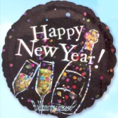 Silvester-Luftballon aus Folie, Happy New Year, Sekt, ohne Helium (FUNG Silvester 03 14829)