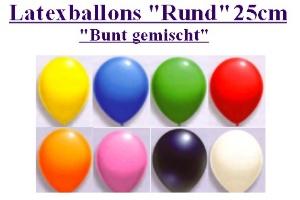 Luftballons Latex 25cm / Bunt gemischte Farben - Luftballons Latex 25cm / Bunt gemischte Farben