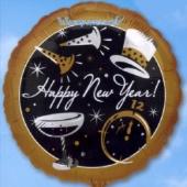 Silvester-Luftballon aus Folie, Happy New Year, Neujahr, mit Helium gefüllt (FHGE Silvester 03 15075)
