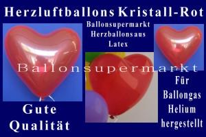 Herzluftballons in Kristall-Rot