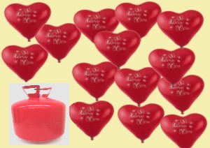 Helium- Einwegbehälter mit 50 Herzballons I Love You