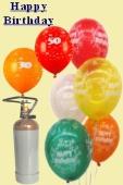 Geburtstags-Midi-Set 4, 25 Luftballons Geburtstag, 25 Zahlenballons, 3 Liter Helium (BGS05MD DGE 4)