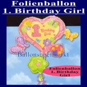 Folienballon-1. Birthday-Girl (Ohne Helium) (Folienballon-1.-Geburtstag-Girl-110012)