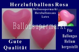 Herzluftballons in Rosa