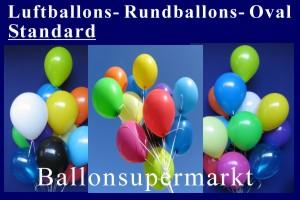 Luftballons Standard 27 cm, Rundballons Oval - Luftballons Standard 27 cm, Rundballons Oval
