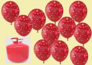 Liebes-Luftballons mit Helium schwebend zur Dekoration Valentinstag