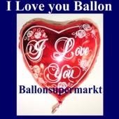 Ich liebe dich Luftballon, Herzluftballon, Folienballon mit Ballongas (FHGE Ich-liebe-dich-luftballon-D-7555)