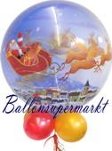 Weihnachts-Luftballon, Bubble, Weihnachtsmann mit Schlitten, inklusive Helium (FHGE-Weihnachtsballon-Bubble-WM-B-He-01)