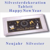 Silvester-Tischdekoration, Tablett Happy New Year (Silvesterdeko 03 438149)