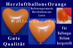 Herzluftballons in Orange