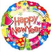 Silvester-Luftballon aus Folie, Happy New Year, mit Helium gefüllt (FHGE Silvester 03 10274)