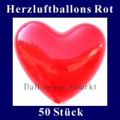 Herzluftballons Rot 50 Stück (LHRGÜ50)