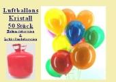 Helium- Einwegbehälter mit 50 Luftballons Kristall (FHGE BT LB Kr 01)