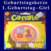 Geburtstagskerze 1. Geburtstag, Girl-Mädchen (Geburtstagskerze-1.-Geburtstag-Girl-171012)