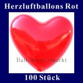 Herzluftballons Rot 100 Stück (LHRG100)