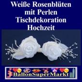 Tischdeko-Hochzeit, Weiße Rosenblüten mit Perlen (Tischdeko-Hochzeit-Rosenblueten-weiss-17233)