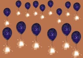 Luftballons mit Wunschkarten in den Silvesterhimmel aufsteigen lassen. Silvesterwünsche gehen in Erfüllung!