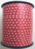 Ballonband, Luftballonbänder 1 Rolle 500 m, Rot-Weiße Herzen (Ballonband-Herzen-Rot-Weiss-Rolle-Bb-H-RW-01)