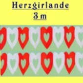 Herzgirlande / Rot-Weiß / 10cm (FD 24502)