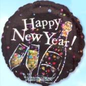 Silvester-Luftballon aus Folie, Happy New Year, Sekt, mit Helium gefüllt (FHGE Silvester 03 14829)