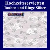 Hochzeitsservietten-Tauben-Ringe-Silber (Hochzeitsservietten-silber-20895)