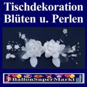 Tischdeko-Hochzeit, Weißes Rosengesteck mit Perlen (Tischdeko-Hochzeit-Rosenblueten-weiss-17234)