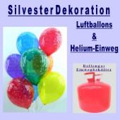 Silvester-Bouquet mit 12 Latexballons u. 2 Folienballons, 2,2 Liter Helium-Einweg (FHGE BT 50/01 Silvester 01)