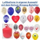 Helium Einweg mit 30 Luftballons, Auswahl selbst bestimmen (FHGE BT LB Auswahl 1)