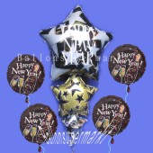 Silvester-Bouquet, Folienballons mit Helium, Silvesterdekoration, Neujahr (FHGE Syl B2)