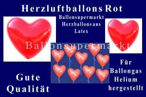 Herzluftballons in Rot