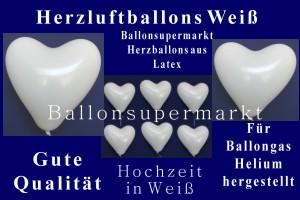 Herzluftballons in Weiß