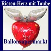 Riesen-Herzluftballon mit Taube, I Love You, Folienballon mit Ballongas (FHGE-Riesen-Herzluftballon-I-Love-You-Taube-D-66048)