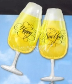 Silvester-Luftballons aus Folie, Happy New Year, Champagner, mit Helium gefüllt (FHGE Silvester 03 11707)
