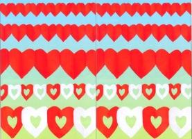 Herzgirlanden Rot und Rot-Weiß - Herzgirlanden Rot und Rot-Weiß