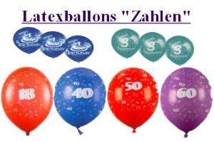 Latexballons mit Zahlen, Zahlen auf Luftballons