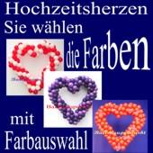 Dekoration zur Hochzeit, Herzdekoration  aus Luftballons mit Farbauswahl, 65 cm Herzen  (Dekoration-Hochzeit-Herz-aus-Luftballons-Farbauswahl-02)
