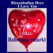 Luftballon Riesen-Herz, I Love You, Folienballon mit Ballongas (FHGE-Luftballon-I-Love-You-D-13414)